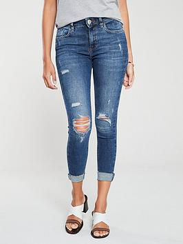 river-island-amelie-mid-rise-distressed-knee-super-skinny-jeans-dark-blue