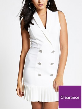 river-island-river-island-pleated-hem-tux-dress-ivory