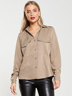 v-by-very-mock-horn-button-utility-shirt-sand
