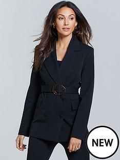 michelle-keegan-longline-belted-tailored-blazer-black