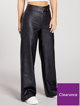 kate-wright-high-waist-buckle-pu-trousers-black