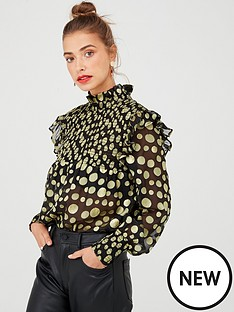 v-by-very-gold-dobby-spot-sheer-blouse-black