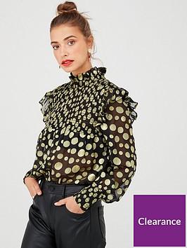 v-by-very-gold-dobby-spot-sheer-blouse-black