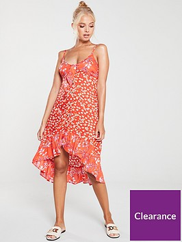 river-island-river-island-printed-frill-beach-dress-red