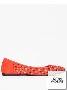 evans-evans-extra-wide-fit-orange-dimante-flat-ballerina