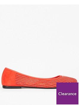 evans-extra-wide-fitnbspdiamantenbspballet-pump-orange