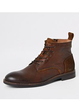 River Island River Island Brown Leather Lace-Up Chukka Boots Picture
