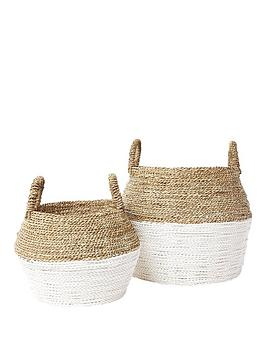 River Island River Island Set Of 2 Beige Handwoven Seagrass Baskets Picture