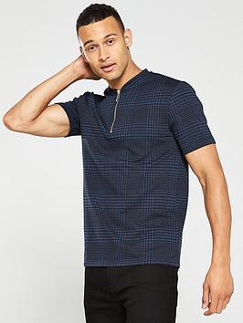 river-island-navy-check-zip-neck-slim-fit-polo-shirt