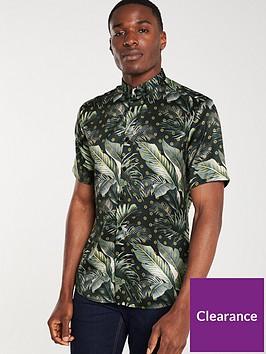 river-island-navy-slim-fit-palm-tree-print-shirt
