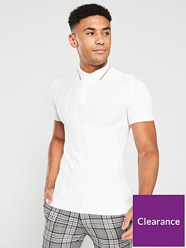 river-island-ecru-knitted-muscle-fit-polo-shirt