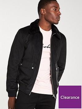 river-island-black-faux-suede-borg-collar-jacket