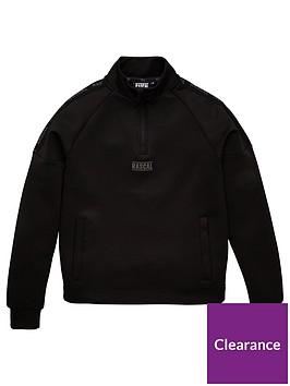 rascal-rascal-iridescent-tape-quarter-zip-funnel-neck-top-black
