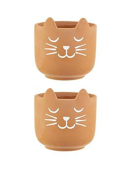 Sass & Belle Sass & Belle Set Of 2 Cat&Rsquo;S Whiskers Terracotta Planters Picture