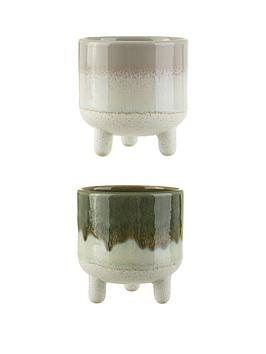 Sass & Belle Sass & Belle Set Of 2 Mini Reflective Glazed Planters Picture