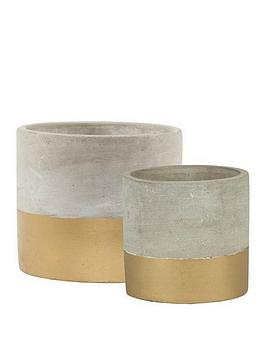 sass-belle-set-2-tuva-gold-dip-cement-planters