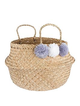 Sass & Belle Sass & Belle Grey Pom Pom Storage Basket Picture