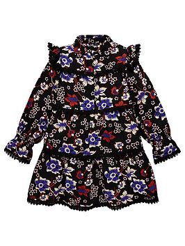 V by Very V By Very Girls Floral Lace Trim Dress - Navy Picture
