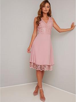 chi chi london Chi Chi London Lauria Lace V Neck Top Midi Dress - Mink Picture