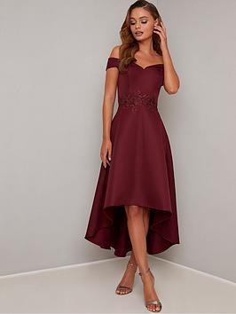 chi chi london Chi Chi London Simera Bardot High Low Dress - Burgundy Picture
