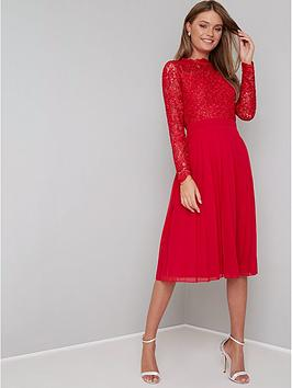 chi chi london Chi Chi London Naarah Lace Top Midi Dress - Red Picture