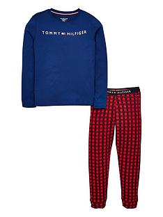 tommy-hilfiger-boys-check-pyjama-set-rednavy