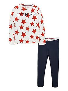 tommy-hilfiger-girls-star-long-pyjama-set-navywhite