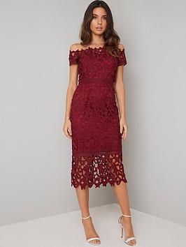 chi chi london Chi Chi London Anna Lace Bardot Midi Dress - Burgundy Picture