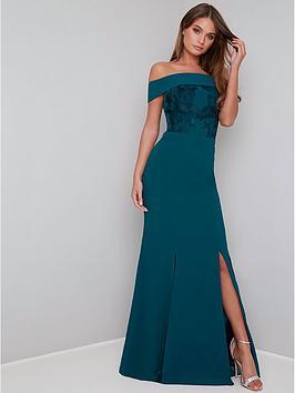 chi chi london Chi Chi London Fenella Bardot Maxi Dress - Teal Picture