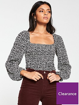 v-by-very-shirred-puff-sleeve-milkmaid-top-monochrome