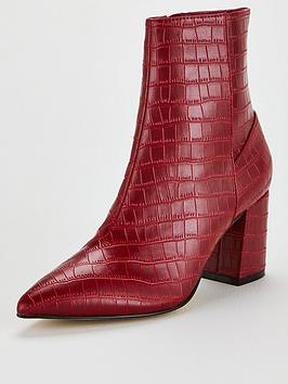 office-allure-croc-point-mid-block-ankle-boots-dark-red