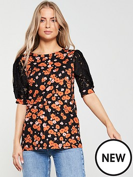 v-by-very-floral-lace-puff-sleeve-top-multi