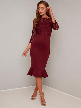 chi chi london Chi Chi London Harlia Dress - Burgundy Picture