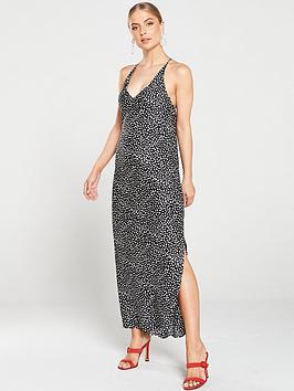 river-island-river-island-spotty-cross-back-strap-maxi-dress--black