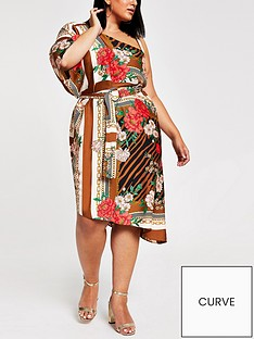 ri-plus-ri-plus-one-shoulder-kimono-sleeve-midi-dress-brown