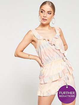 river-island-river-island-brown-print-frill-wrap-playsuit-brown