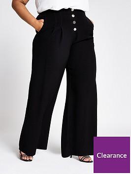 ri-plus-ri-plus-button-detail-wide-leg-trouser-black