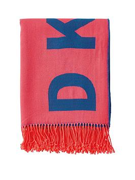 DKNY Dkny Woven Engineered Throw - Coral/Royal Blue Picture