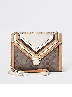 river-island-river-island-monogram-cross-body-bag-beige
