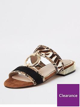 river-island-river-island-leather-animal-print-mule-flat-sandal-brown