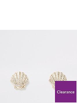 river-island-shell-stud-earring-gold