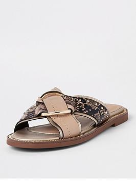 river-island-river-island-cross-strap-flat-sandals-beige
