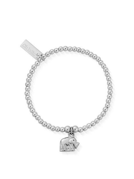 chlobo-childrens-sterling-silver-cute-charm-elephant-bracelet-silver