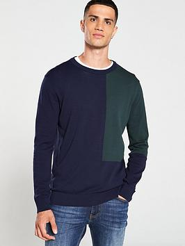 selected-homme-colour-block-crew-neck-jumper-bluegreen