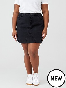 v-by-very-curve-raw-hem-denim-skirt-black