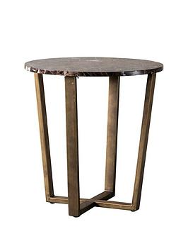 hudson-living-emperor-marble-round-side-table-brown