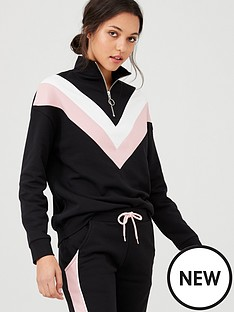 v-by-very-chevron-funnel-neck-co-ord-sweat-black