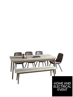 hudson-living-milano-200-252-cm-extending-dining-table-1-bench-4-newton-chairs