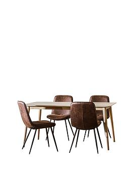 Hudson Living  Milano 160 Cm Dining Table + 4 Newton Chairs