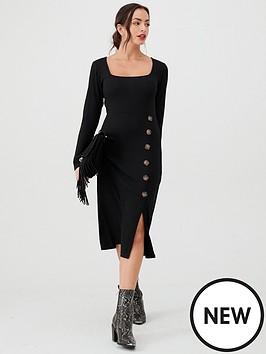v-by-very-ribbed-mock-horn-jersey-dress-black